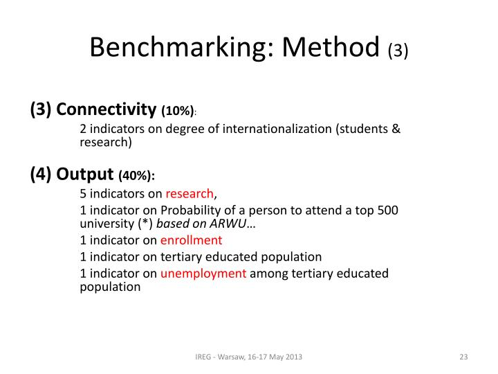 Benchmarking: Method