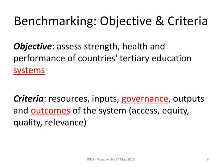 Benchmarking: Objective & Criteria