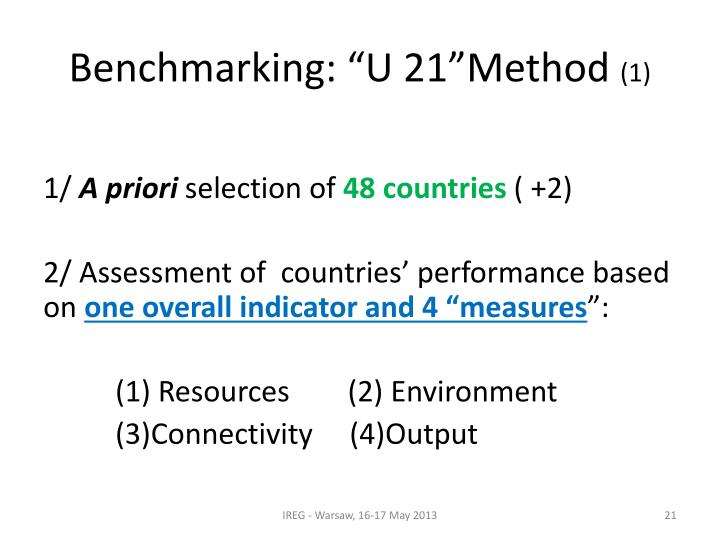 "Benchmarking: ""U 21""Method"