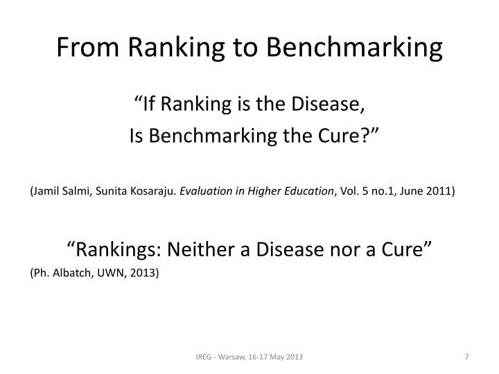 From Ranking to Benchmarking