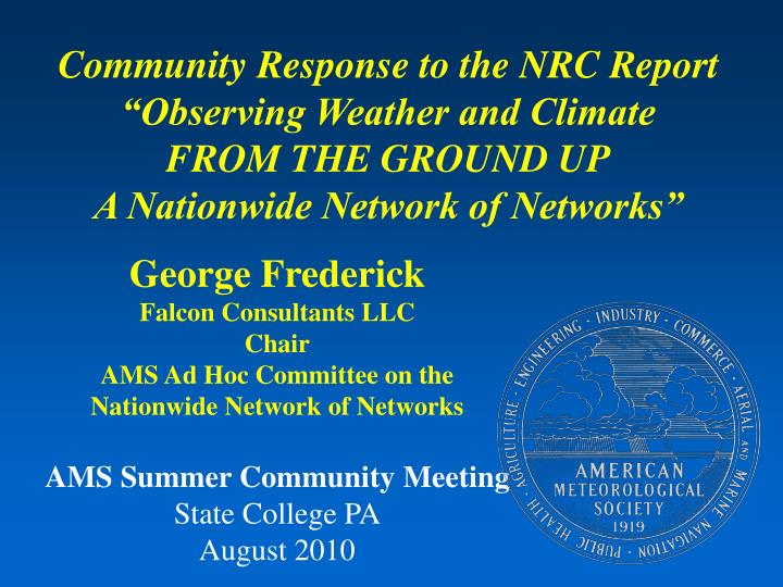 Community Response to the NRC Report