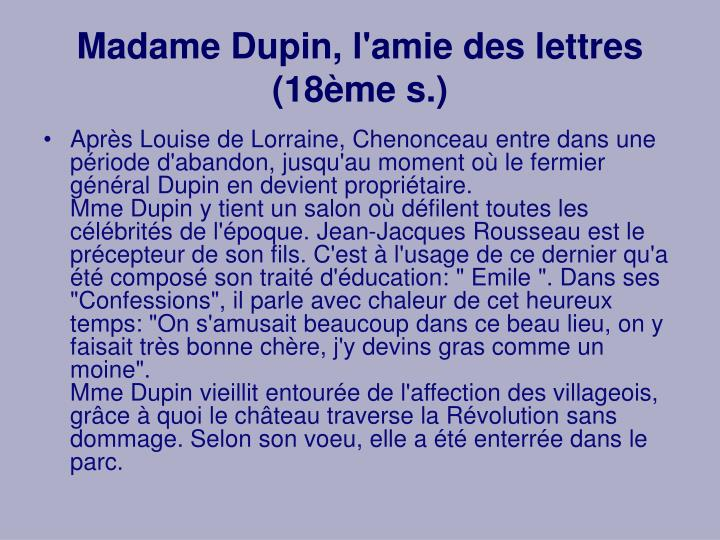 Madame Dupin, l'amie des lettres (18ème s.)