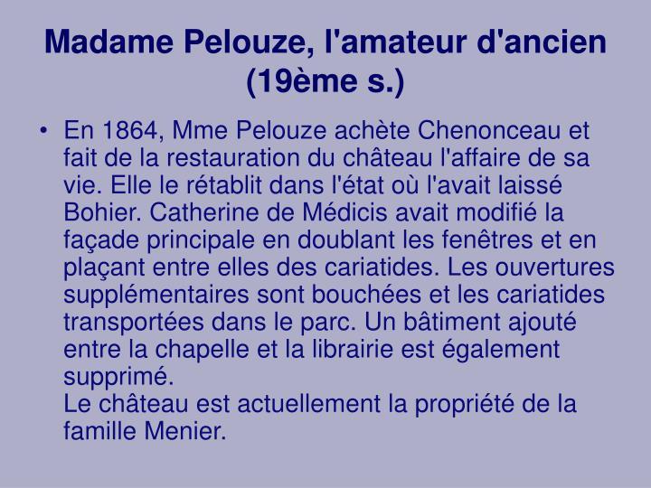 Madame Pelouze, l'amateur d'ancien (19ème s.)