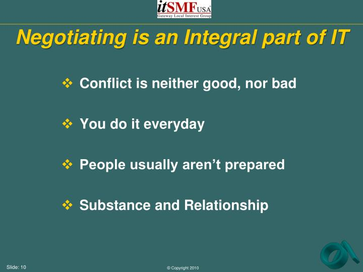 Negotiating is an Integral part of IT