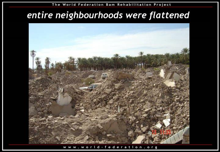 entire neighbourhoods were flattened
