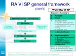 ra vi sp general framework cont d