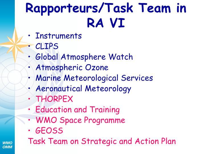 Rapporteurs/Task Team in RA VI