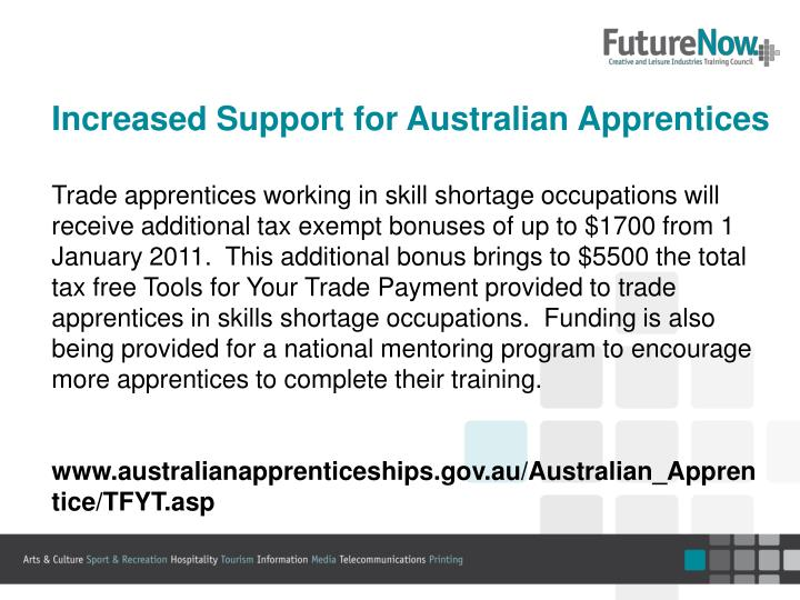 Increased Support for Australian Apprentices