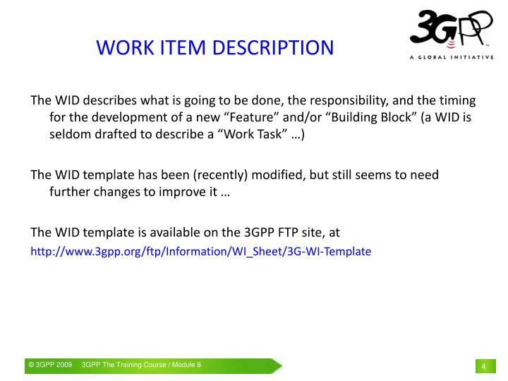 WORK ITEM DESCRIPTION