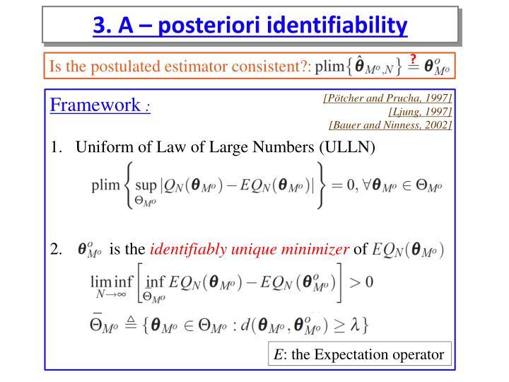 3. A – posteriori identifiability