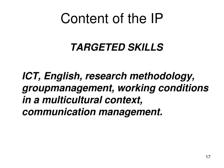 Content of the IP