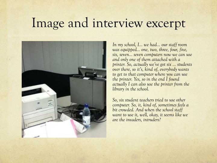 Image and interview excerpt