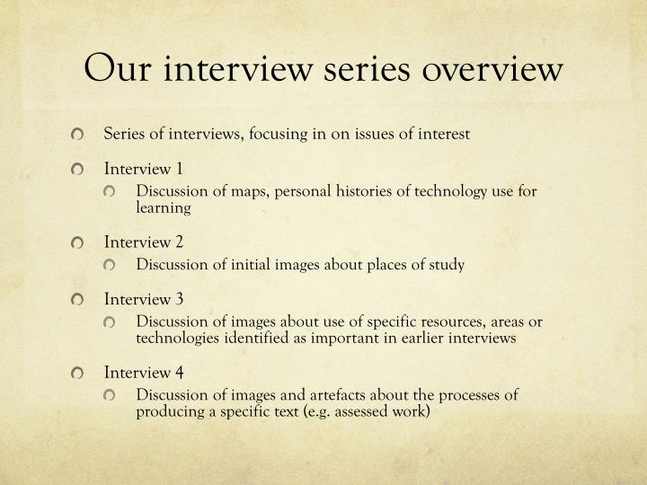Our interview series overview