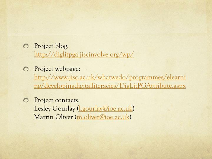Project blog: