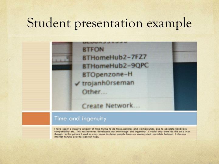 Student presentation example