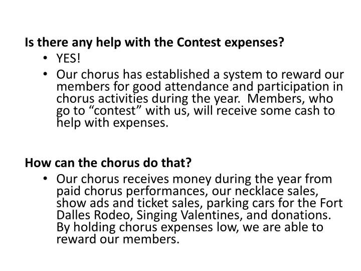 Is there any help with the Contest expenses?