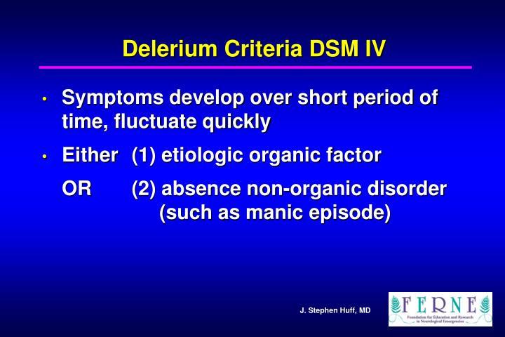 Delerium Criteria DSM IV