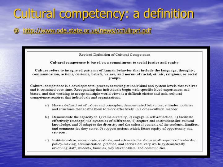 Cultural competency: a definition