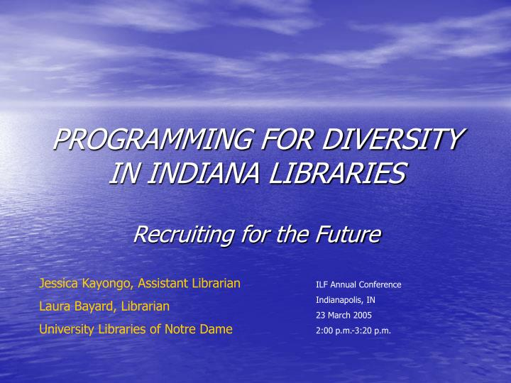 programming for diversity in indiana libraries