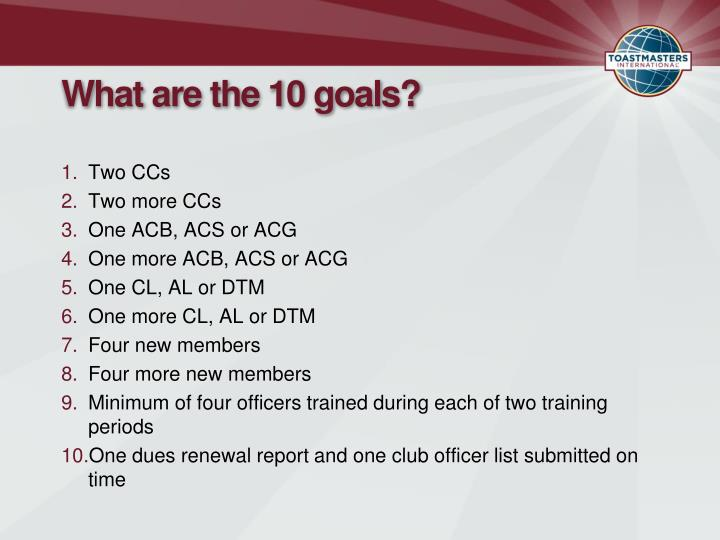 What are the 10 goals?