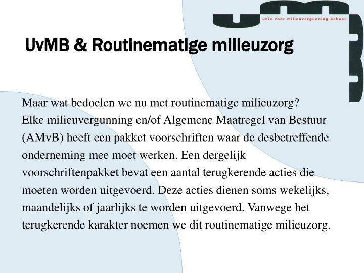 UvMB & Routinematige milieuzorg