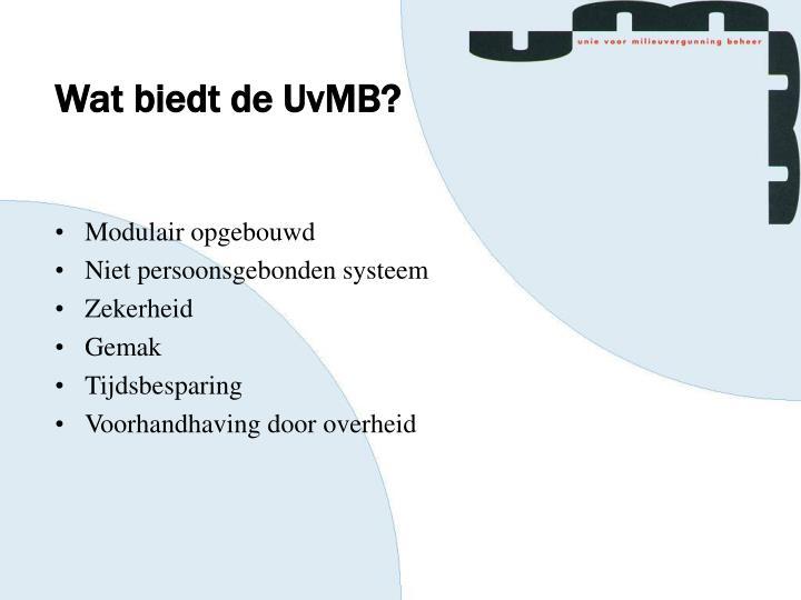 Wat biedt de UvMB?