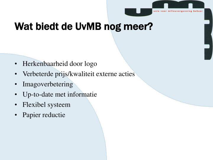Wat biedt de UvMB nog meer?