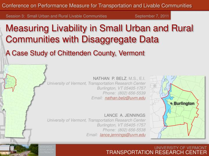 Conference on performance measure for transportation and livable communities