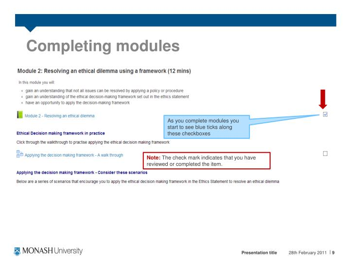 Completing modules