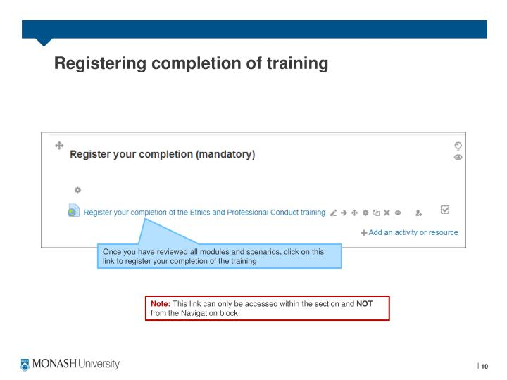 Registering completion of training