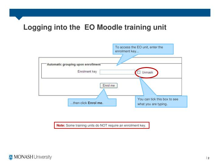 Logging into the  EO Moodle training unit