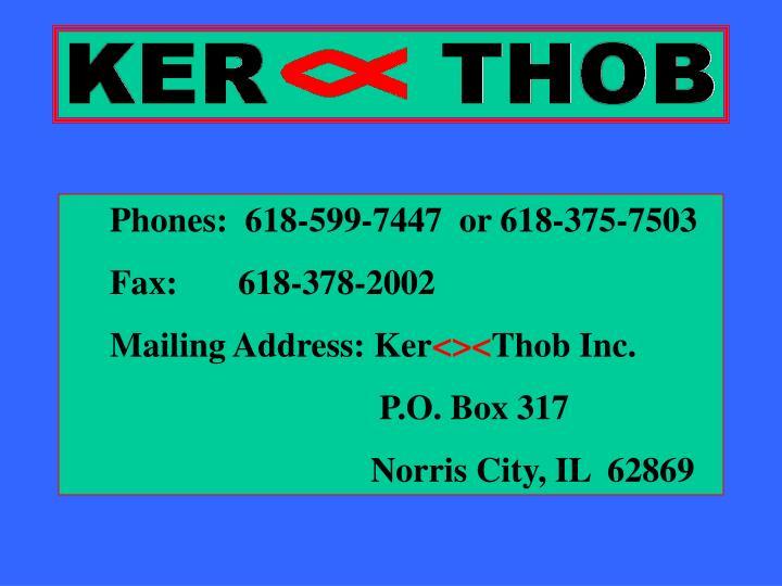 Phones:  618-599-7447  or 618-375-7503