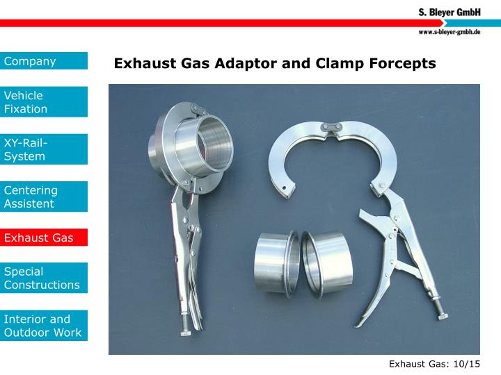 Exhaust Gas Adaptor and Clamp Forcepts