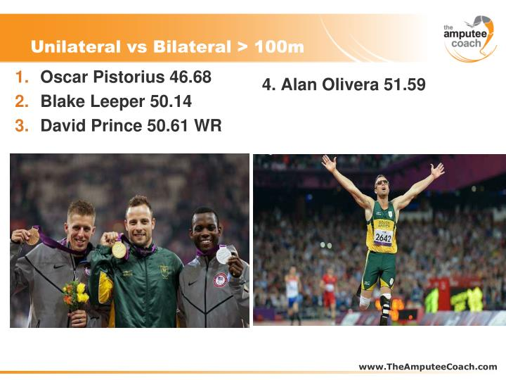 Unilateral vs Bilateral > 100m