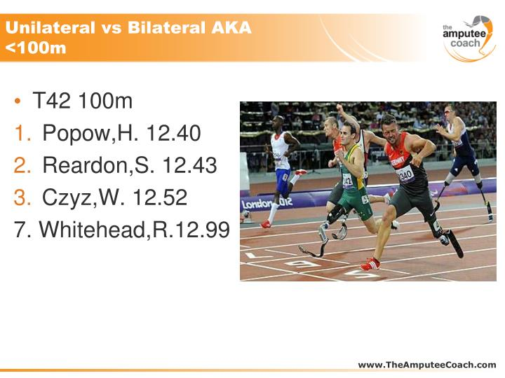 Unilateral vs Bilateral AKA <100m