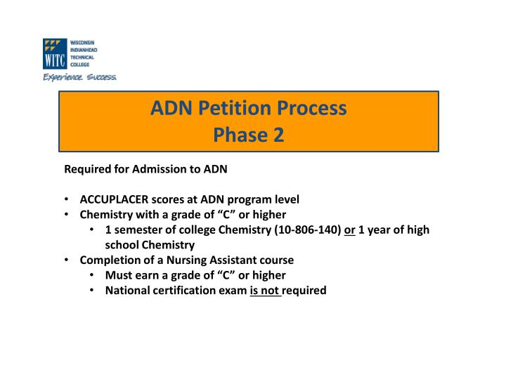 Required for Admission to ADN