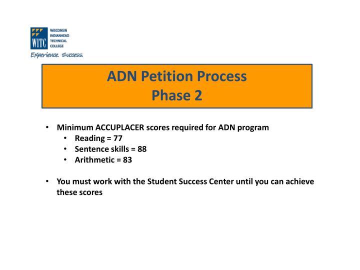 Minimum ACCUPLACER scores required for ADN program