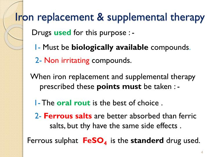 Iron replacement & supplemental therapy