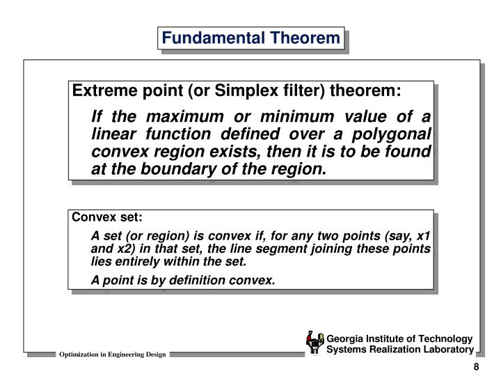 Extreme point (or Simplex filter) theorem: