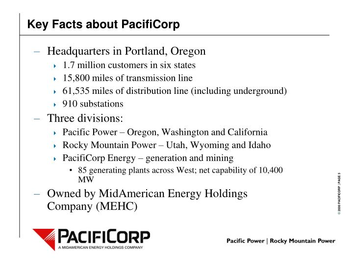 Key facts about pacificorp