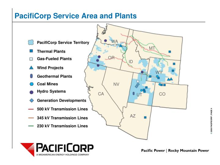 PacifiCorp Service Area and Plants