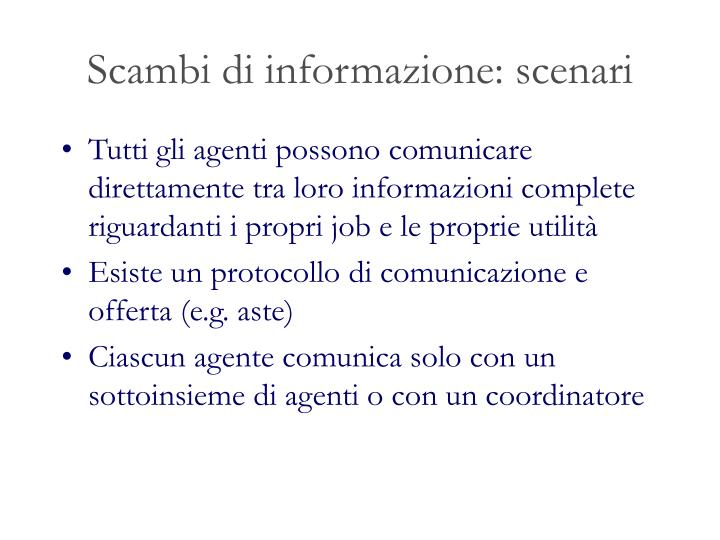 Scambi di informazione: scenari