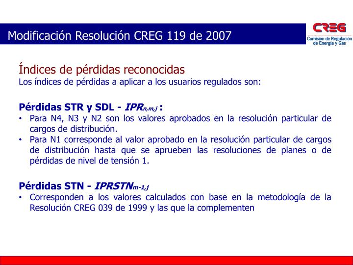 Modificación Resolución CREG 119 de 2007