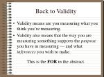 back to validity