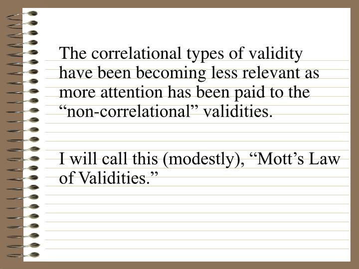 The correlational types of validity