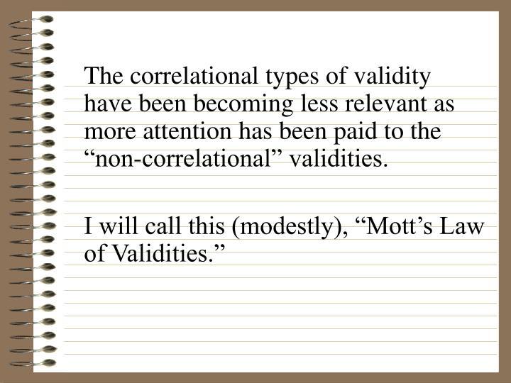 The correlational types of validity