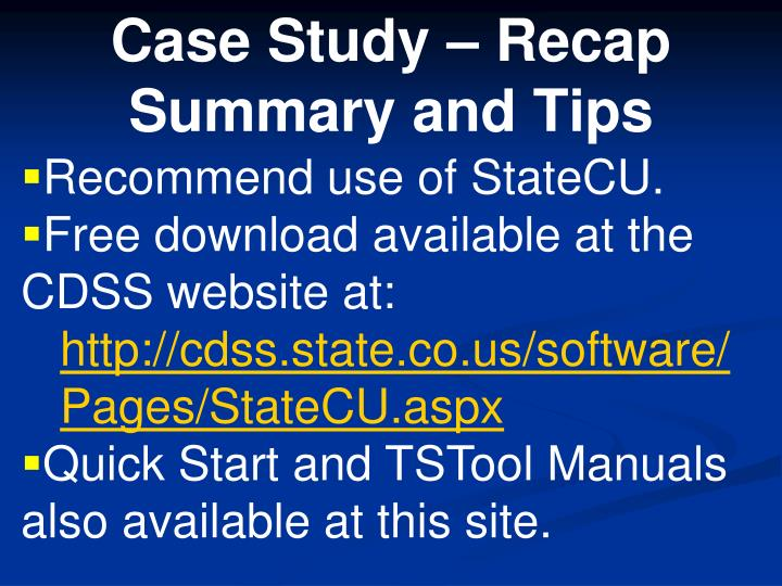 Recommend use of StateCU.