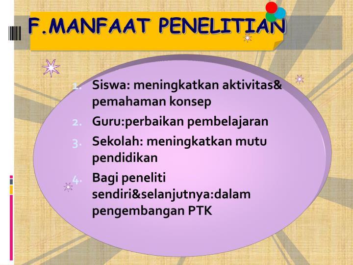 F.MANFAAT PENELITIAN