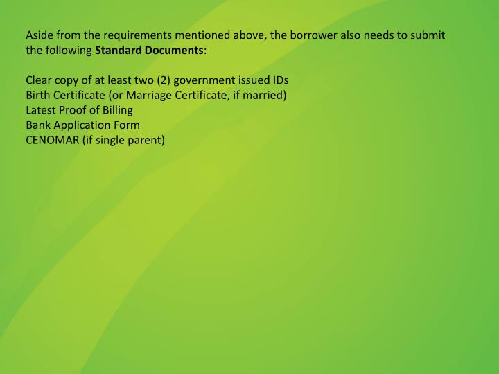 Aside from the requirements mentioned above, the borrower also needs to submit the following