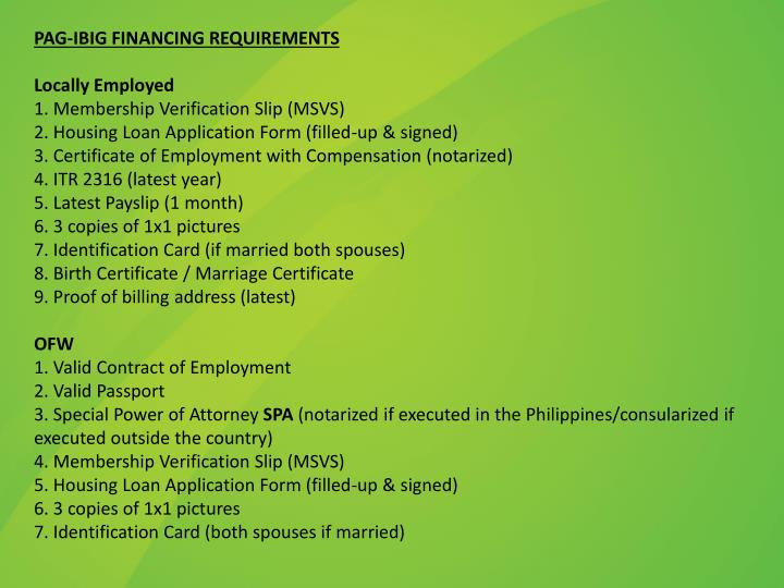 PAG-IBIG FINANCING REQUIREMENTS